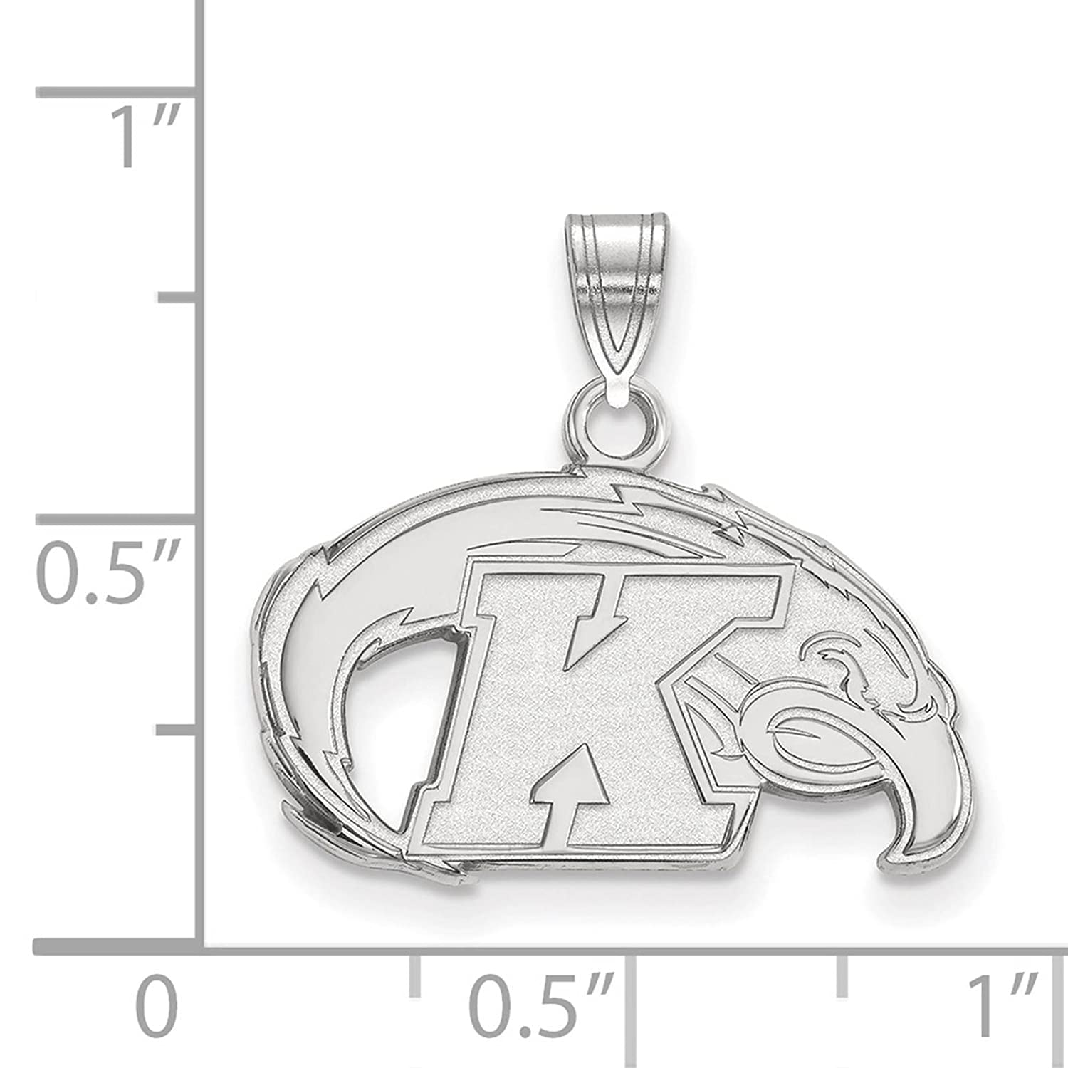 925 Sterling Silver Rhodium-plated Laser-cut Kent State University Small Pendant
