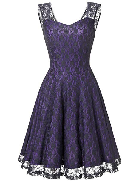 Dresstells® Vestido Vintage Mujer Casual Corto Encaje Fiesta Boda Madrina Sin Mangas Purple L