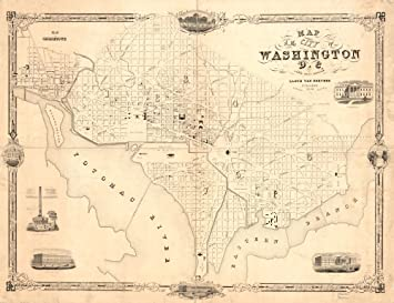 Amazon.com: Vintage 1850 Map of city of Washington D.C. - Shows ...
