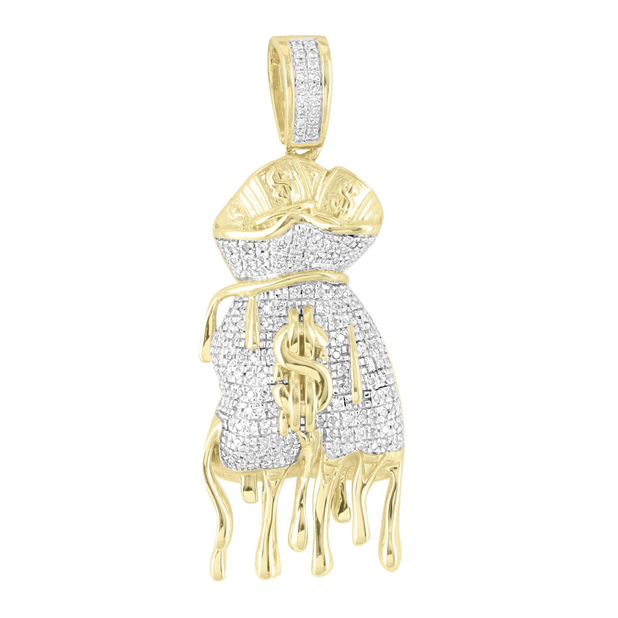 Dripping Money Bag Pendant Custom 10k Yellow Gold 0.50 Ct Diamonds Rapper Pave Set