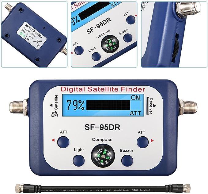 ELEGIANT Buscador Satélites Digital Localizador Conexión F Señal Detector TVHD + Iluminada Brújula SATFINDER