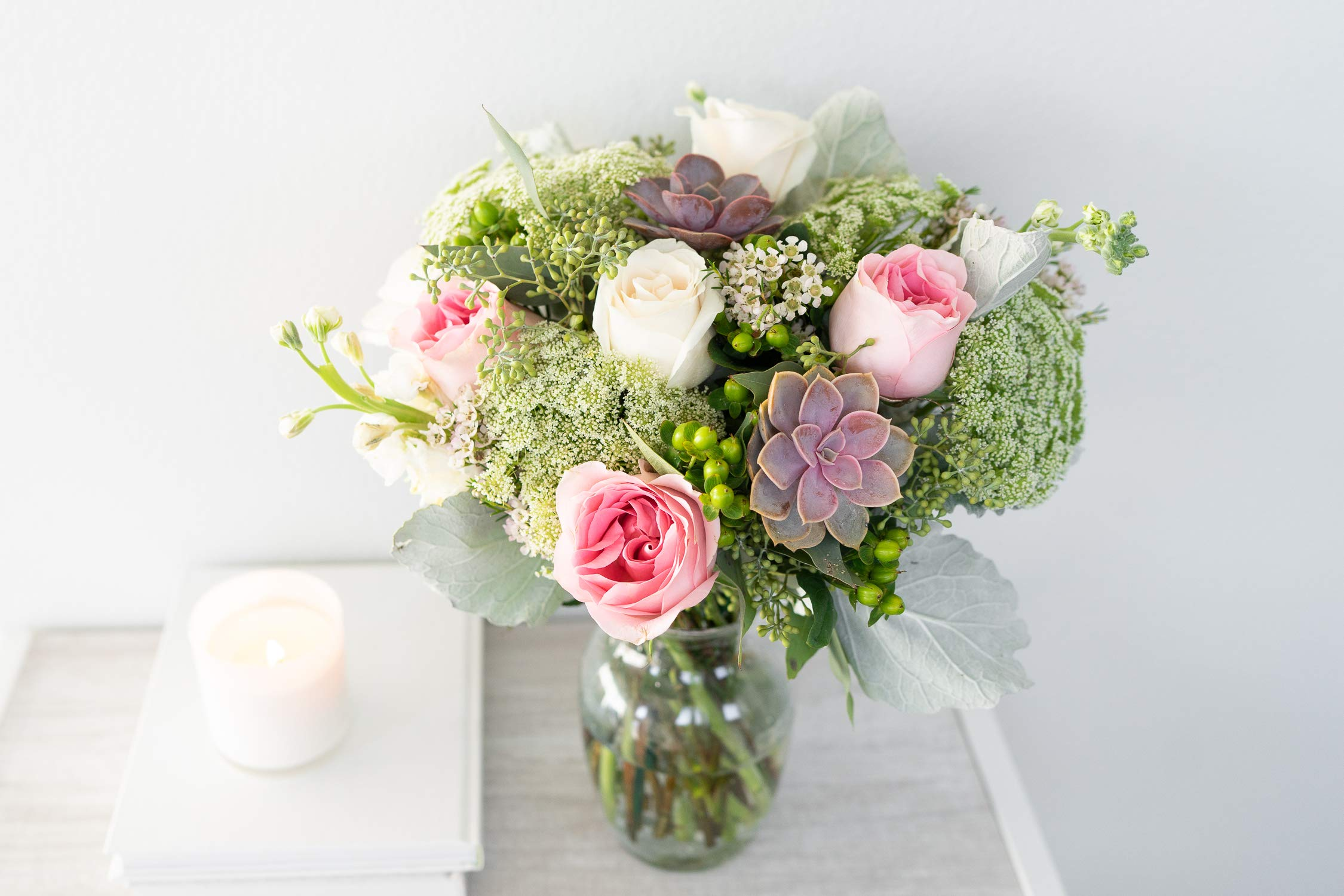 Flowers - Sweet Succulent Bouquet (Free Vase Included)