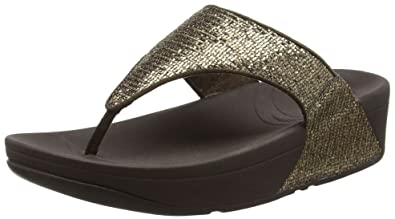 FitFlop Damen Lulu Superglitz Slide Offene Sandalen, Gold (Copper), 39 EU