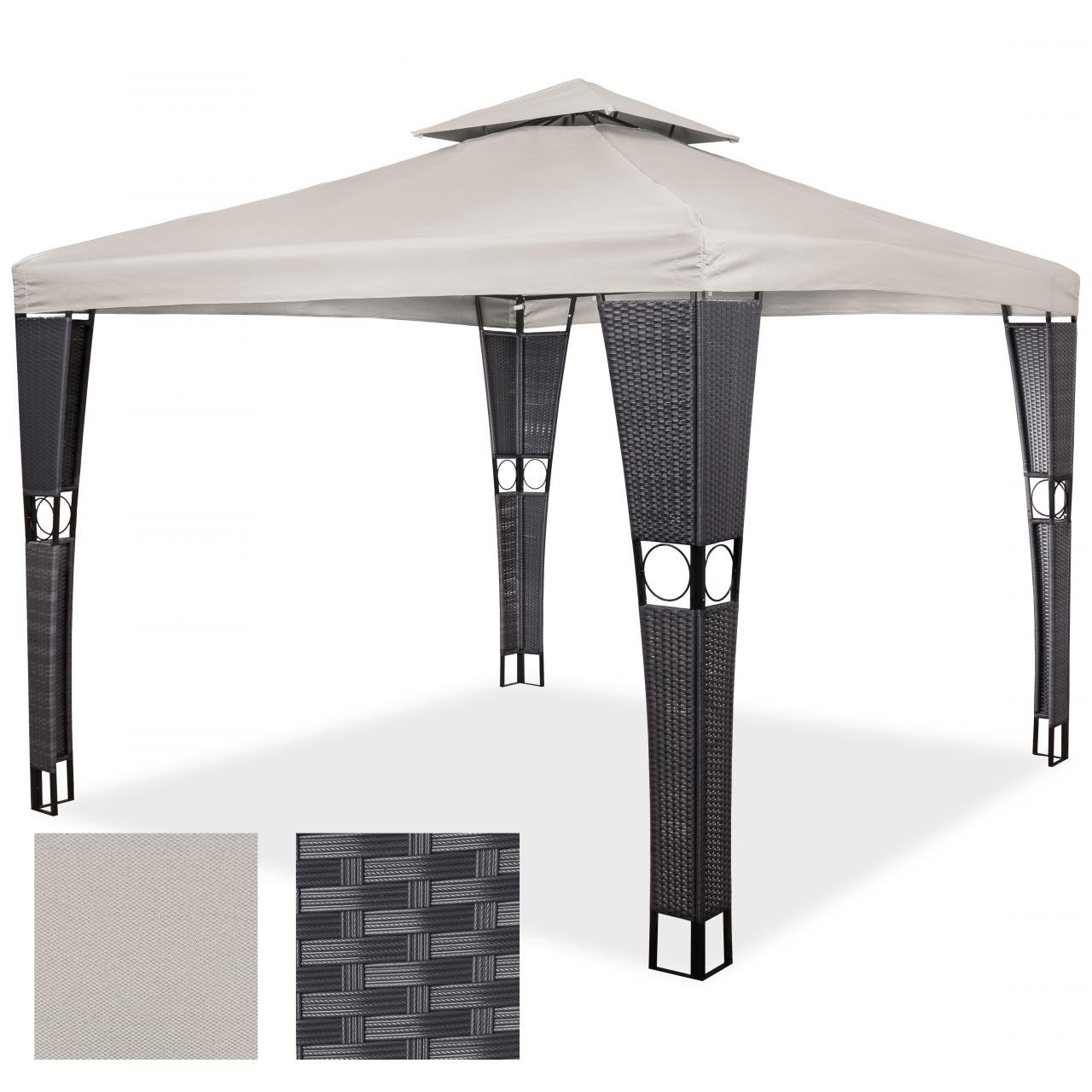polyrattan pavillon gartenm bel sonnenschutz partyzelt gartenzelt 3 x 4 m sand g nstig online kaufen. Black Bedroom Furniture Sets. Home Design Ideas