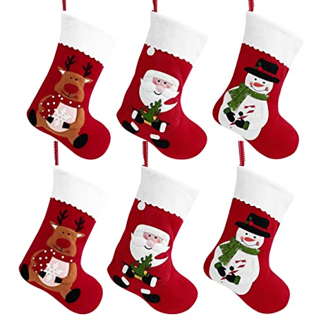 Toyvian Calcetines navideños - Bolsas Colgantes de Fieltro Rojo navideño 6 Piezas