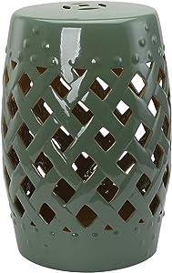 "Outsunny 13"" Ceramic Indoor Outdoor Lattice Garden Stool - Green"