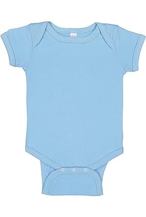 e900ed344 Rabbit Skins Infant 100% Cotton Jersey Lap Shoulder Short Sleeve Bodysuit  (Light Blue,