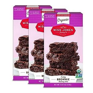 Miss Jones Baking Organic Fudge Brownie Mix, Non-GMO, Vegan-Friendly: Rich Cocoa (Pack of 3)