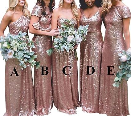 Bridesmaid Dresses Rose Gold Sequins