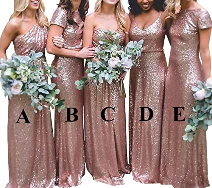 b6c1f5b2bbf Katharina Shop Bridesmaid Dresses Rose Gold Sequins Long Evening Prom Gowns  Backless Maid of Honor Dress Wedding KS066 at Amazon Women s Clothing store