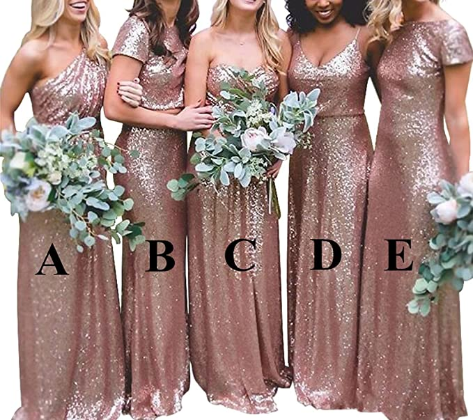 Katharina Shop Bridesmaid Dresses Rose Gold Sequins Long Evening