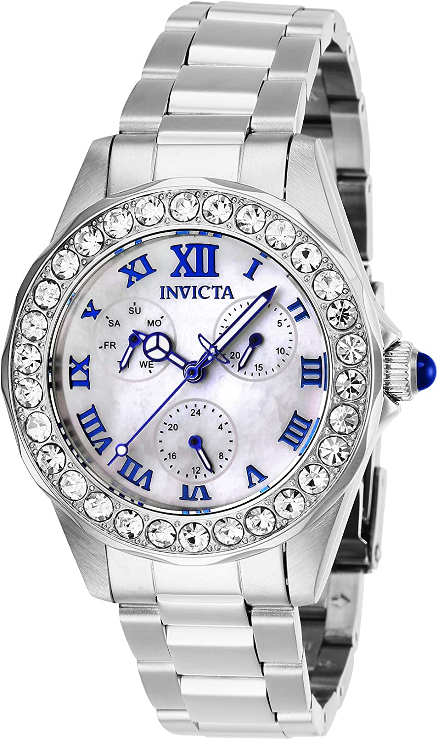 Invicta Women's Angel Quartz Watch with Stainless Steel Strap, Silver, 18 (Model: 28463)