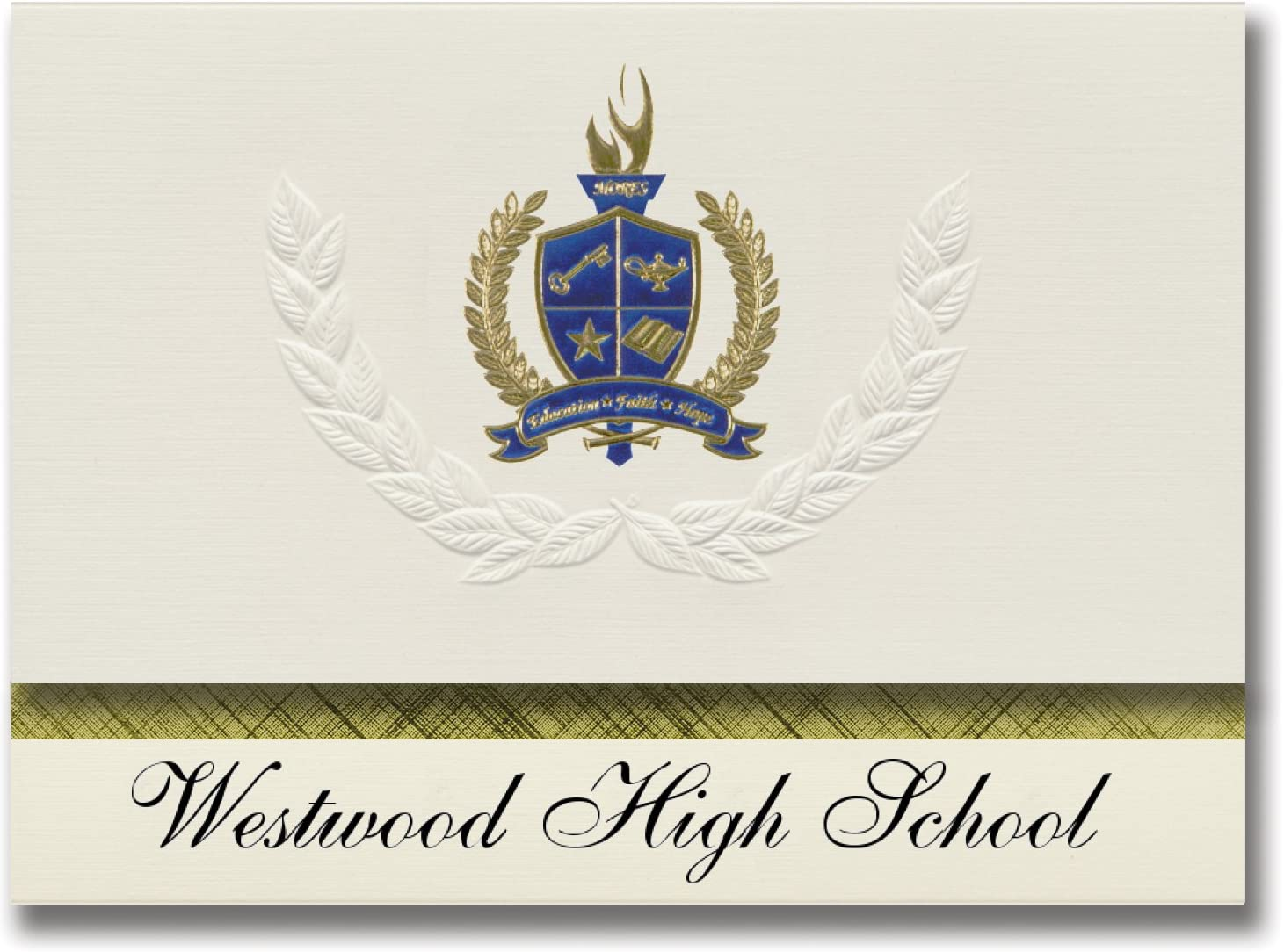 Signature Announcements Westwood High School (Gillette, WY) Graduation Announcements, Presidential style, Elite package of 25 with Gold & Blue Metallic Foil seal
