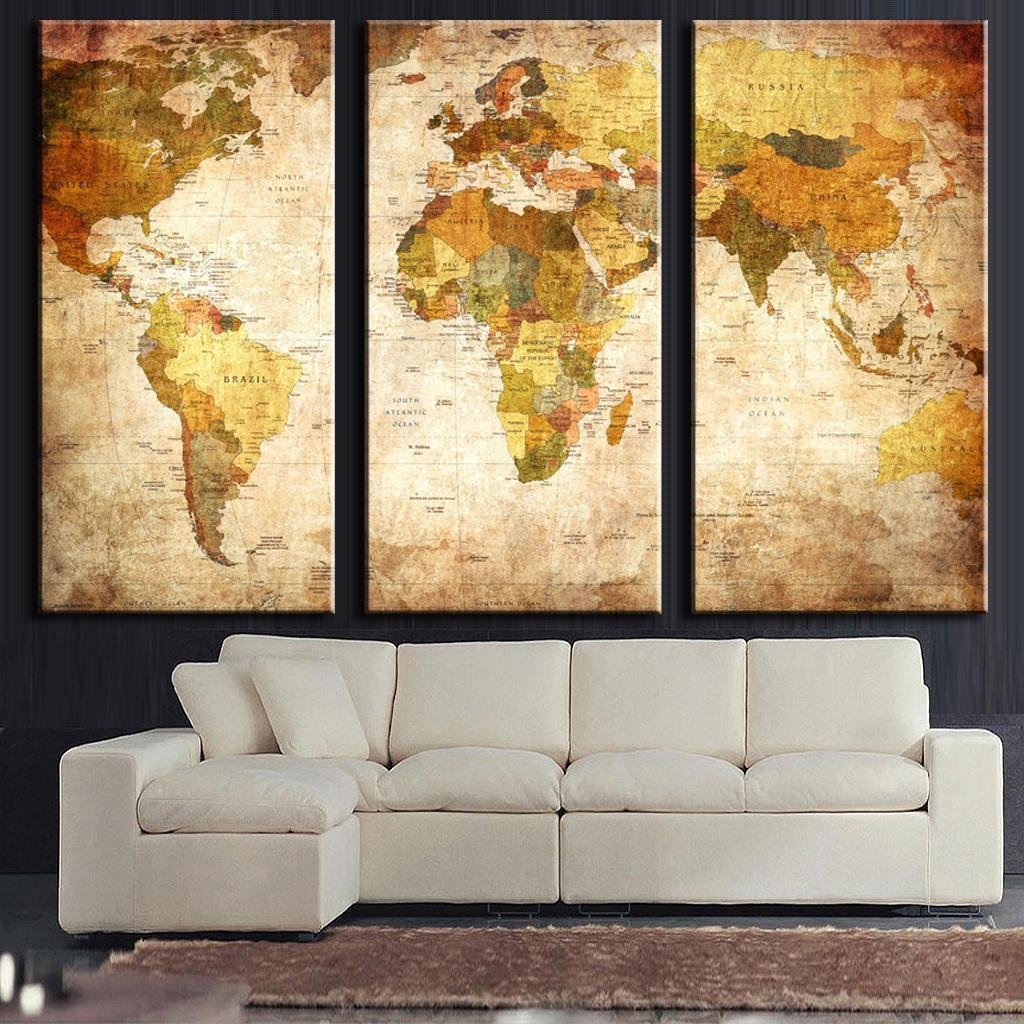ECHI 3 Panel Wall Decor Oil Painting Modern World Map Canvas Prints ...