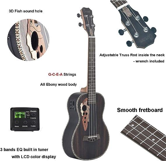 26 inch Caramel CT904 All Ebony Wood Tenor Ukulele with Truss Rod LCD color display Electric Uke Beginner Guitar Starter Ukelele
