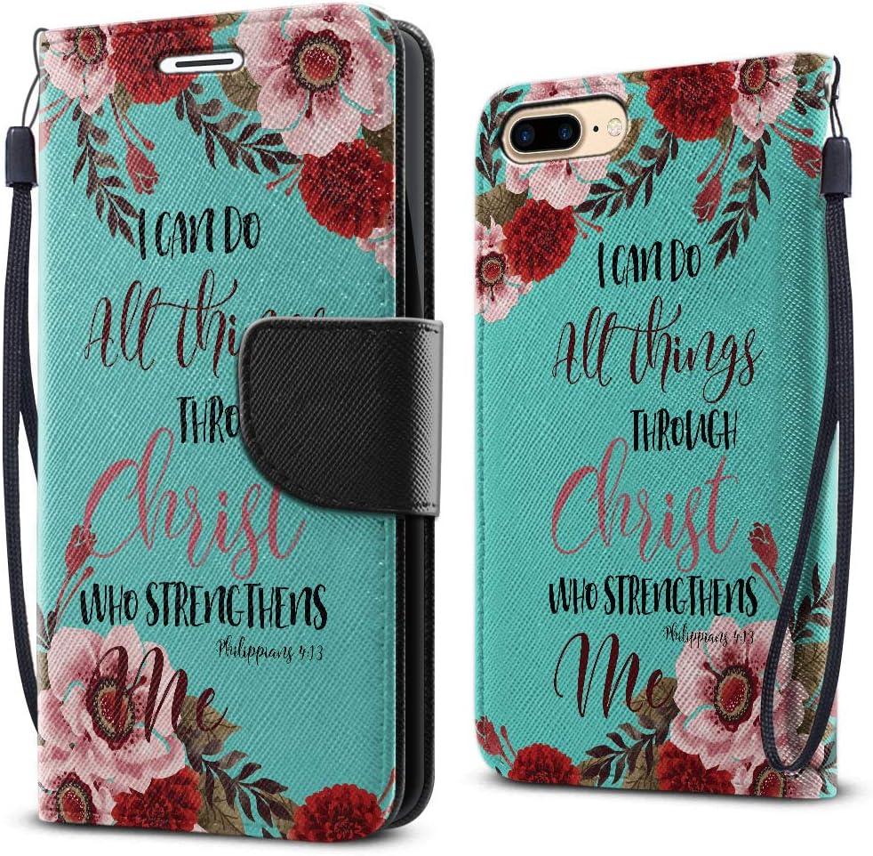 FINCIBO Case Compatible with Apple iPhone 7 Plus/ 8 Plus, Fashionable Flap Wallet Cover Case Card Holder Stand for iPhone 7 Plus/ 8 Plus (NOT FIT iPhone 7/8) - Christian Bible Verses Philippians 4:13