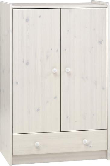 Schrank Kiefer massiv gekalkt weiß – DIM: 79 x 54 x 124 cm – pegane ...