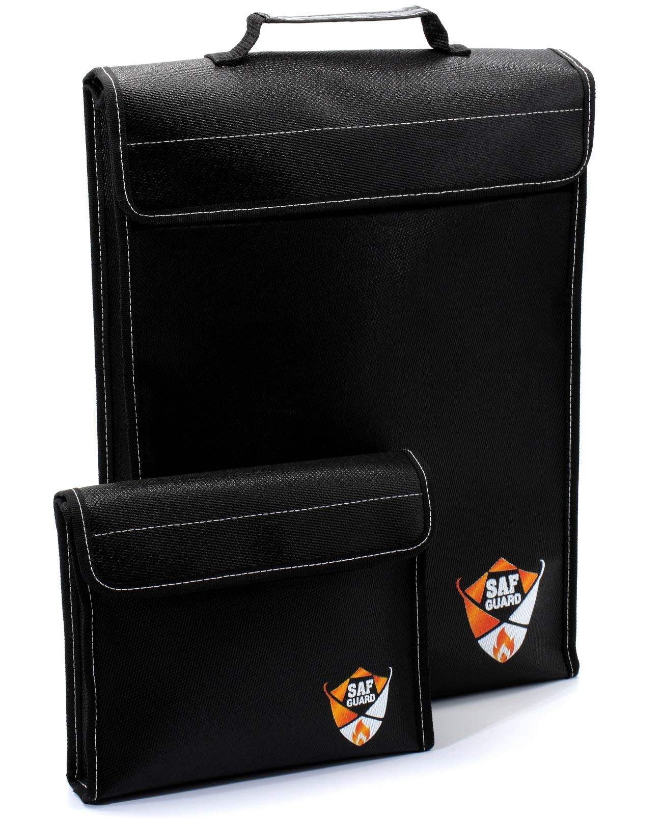 Fireproof Document Bags – Set of 2 Fire Resistant Bags – Premium Leather Handle –For Important Documents, Lipo Battery Bag, Money, Jewelry Storage – Waterproof, Explosion-proof, FREE eBook – SAF GUARD