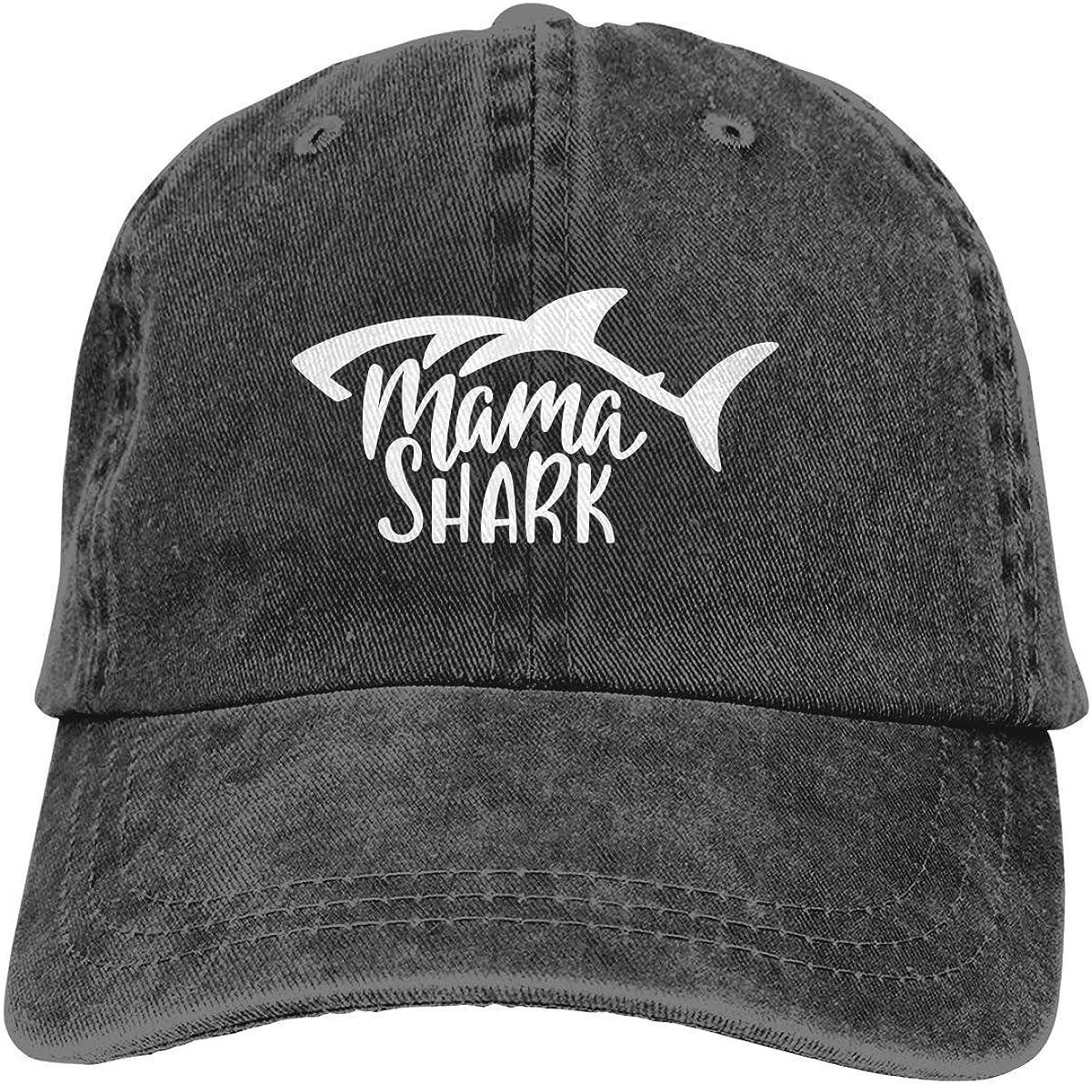 KKMKSHHG Mama Shark Surfing Baseball Cap, Papa Shark Bite me Adjustable Dad Denim Hats for Men and Women