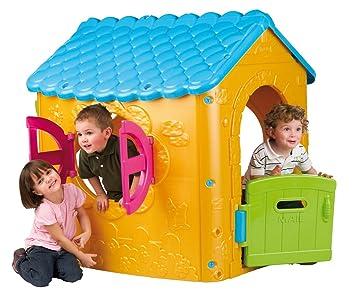FEBER outdoor Play House - Casa de juegos con puerta y ventanas abatibles y panel de