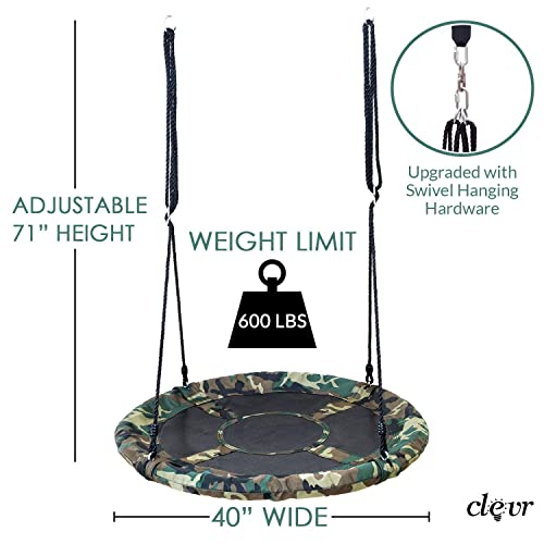 Clevr 40 Round Outdoor Saucer Tree Kids Net Swing Set Detachable 360 Degree Spin Swivel Hanging Hardware Adjustable 71 Height Rope – 600 lbs Weight Limit, Camo