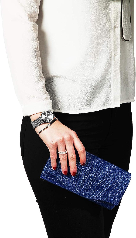 Damen Clutch Glamour Blau Elegantes Accessoire f/ür die Abendgaderobe zu Hochzeiten Oper und Feiern Edler Glitter Glanz durch hochwertige Lurex-Garne
