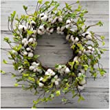 "Cotton Wreath - 22"" Farmhouse Natural Round Cotton Boll Wreath Rustic Floral with Artificial Green Leaves for Wall or Desk Wedding Centerpiece Welcome Decor"