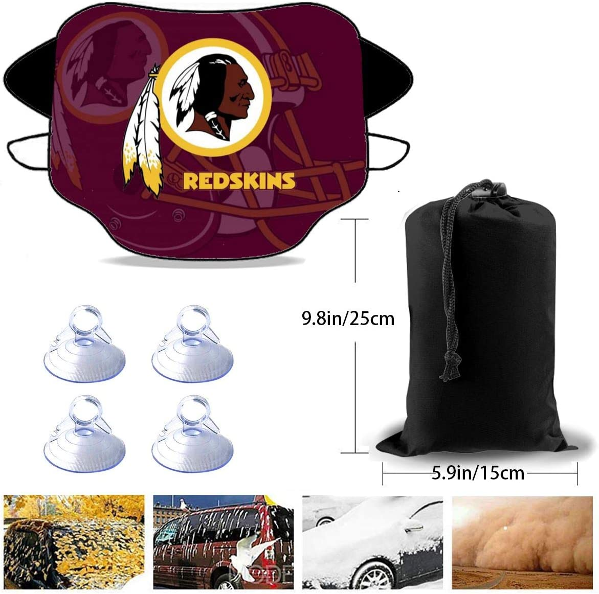 BXNOOD Car Front Windshield Sun Shade Cover New Orleans Saints Car Windsheild Snow Cover Wiper Protector UV Rays Sun Visor Keeps Vehicle Cooler