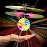 MIYUE RC Flying Toys, RC Flying Ball, RC Infrared Induction Flying Disco Ball Built-in Shinning LED Lighting for Kids, Teenagers LED Flying Drone Helicopter Ball Infrared Toy for Children