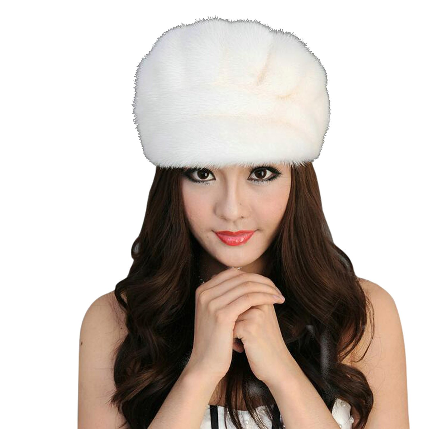 Easting Warm Winter Genuine Mink Fur Beret Hat Fashion Style Women's Berets (White) by Easting&co