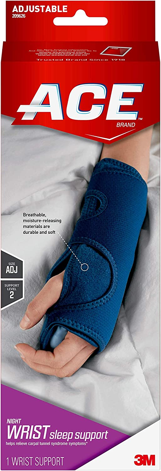 ACE Night Wrist Sleep Support, Helps relieve symptoms of Carpal Tunnel Syndrome, Money Back Guarantee: Health & Personal Care