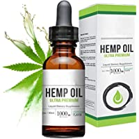 FabQuality 1000mg 100% Natural Extract, Anti-Anxiety and Anti-Stress Hemp Oil Drops for Skin & Heart Health,Vegan Friendly