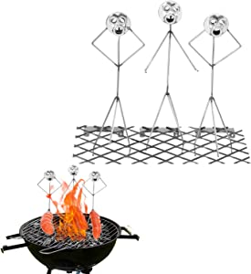 Steel Hot Dog, Marshmallow Barbecue Skewers, Barbecue Skewer Fun Humanoid Forks Hot Dog Grill Holder Hotdog Cooker Outdoor Camping Cooking Tools for Campfire Firepit and Sausage BBQ