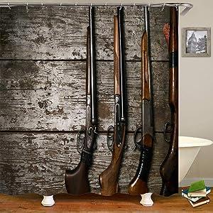 Klattii Hunting Gun Shotgun On Template Retro 3D&HD Graphics Shower Curtain Set with Hooks Bathroom Decor Waterproof Polyester Fabric Bathroom Accessories Bath Curtain