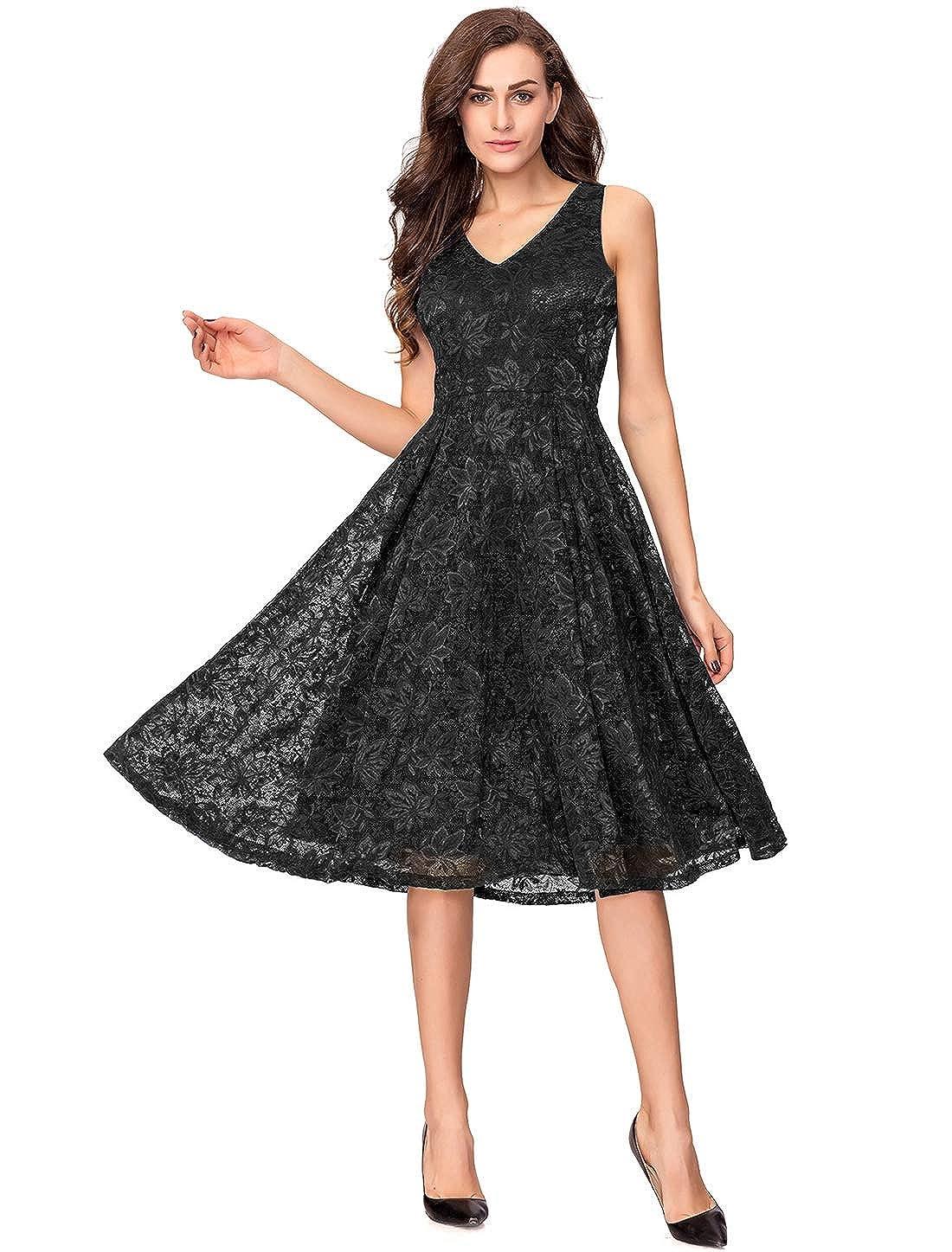 0faac38db7912 Amazon.com: Noctflos Lace V Neck Fit & Flare Midi Cocktail Dress for ...