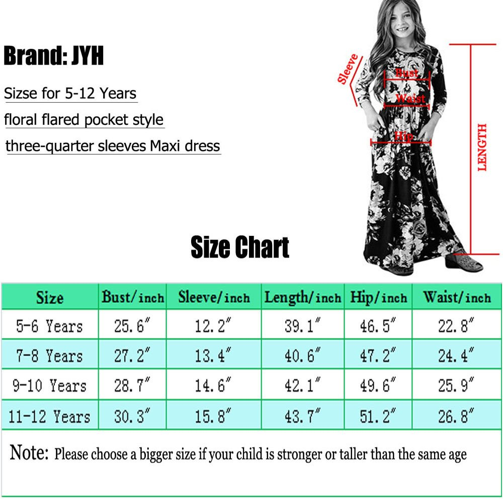 JYH Girls Maxi Dress, Floral Flared Sewing Pocket Three-Quarter Sleeves Long Dress Size 5-12 by JYH (Image #7)