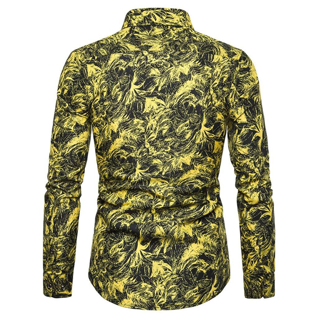 UJUNAOR Camicia Uomo Slim Fit Manica Lunga con Bottoni Elegante Stampa Paisley Casual Moda 2019 Nuovo M//L//XL//2XL//3XL//4XL