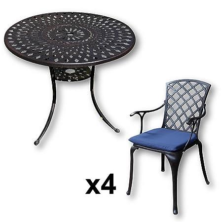 Amazon De Lazy Susan Mia 90 Cm Runder Gartentisch Mit 4 Stuhlen