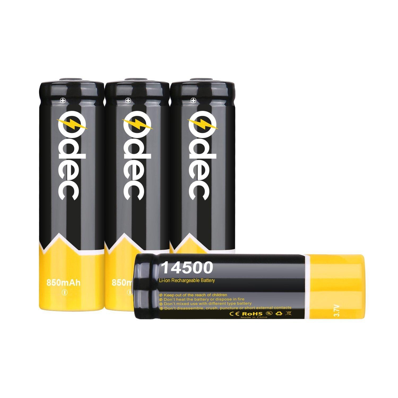 Odec 14500 Batería Litio Recargable 3,7V 850mAh 14500 batería pueden utilizar en LED, proyectores etc. Paquete de 4