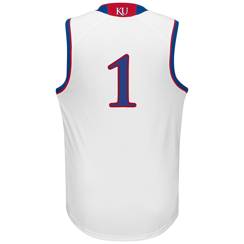d3f6cc01713bd Amazon.com : NCAA Kansas Jayhawks Men's Replica Jersey, Large, White ...