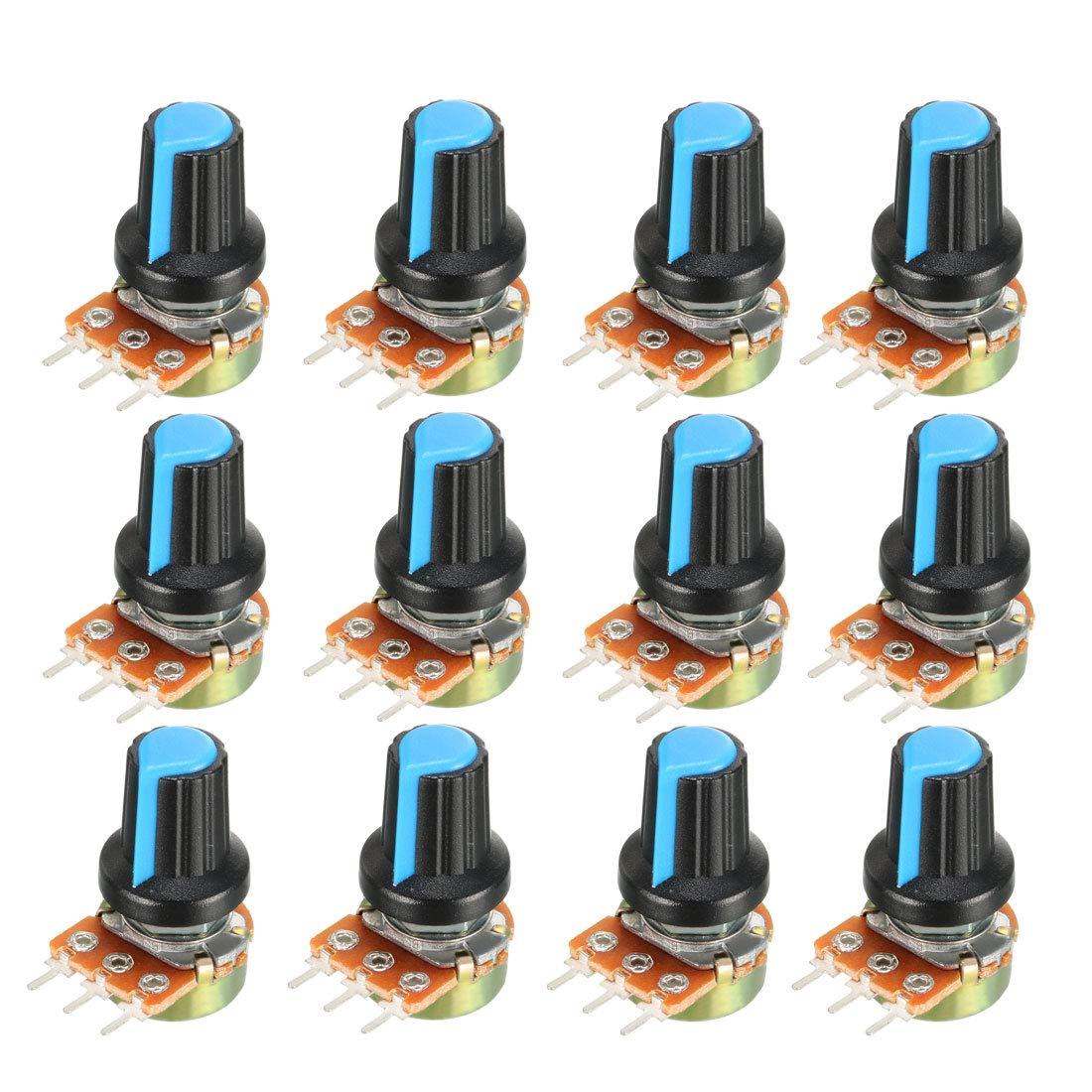 3Pcs 5K Potenci/ómetro de pel/ícula de carbono con perilla blue Sourcingmap