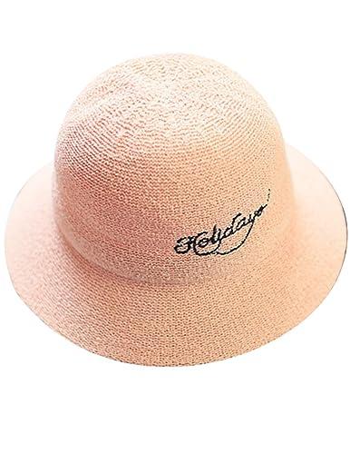 Menschwear mujer Bucket Hats Foldable Wide Brim Summer Beach Hat Sun Hats Rosa