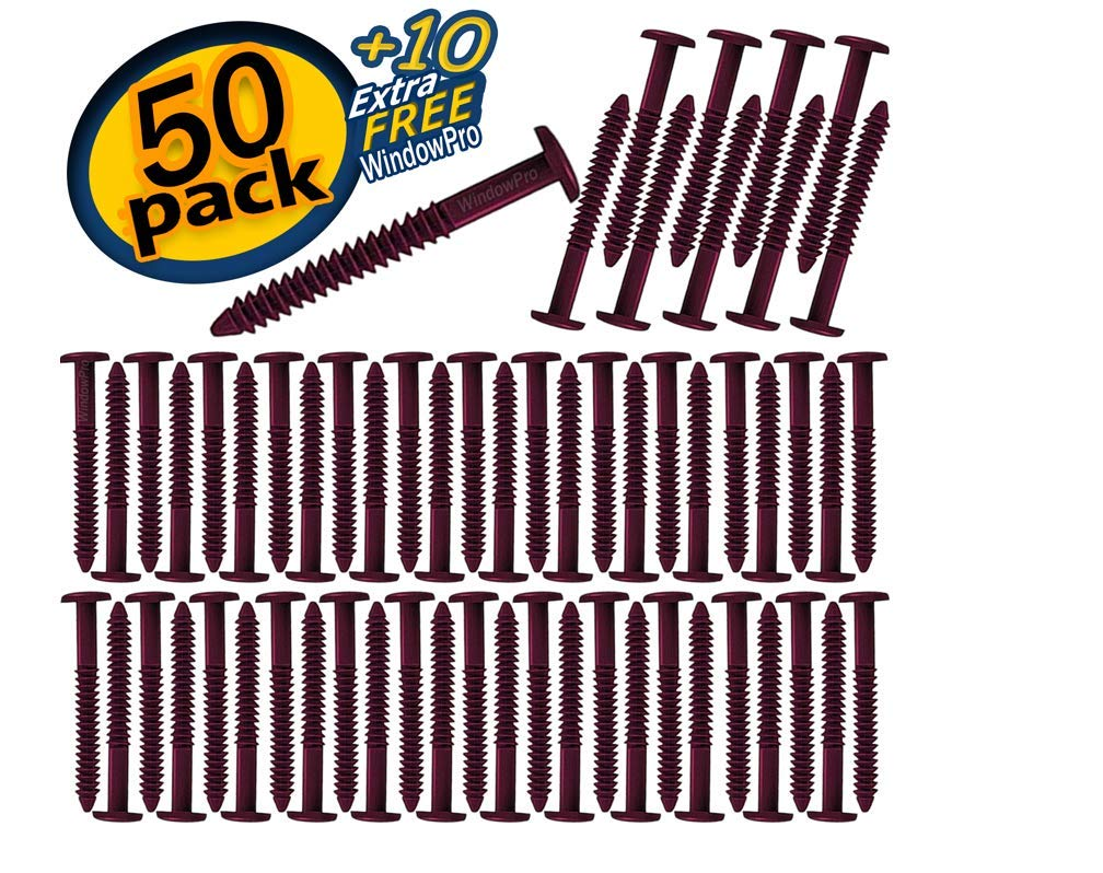 Window Shutters Panel Peg Lok Pin Screws Spikes 3 inch 60 Pack (Burgundy) Exterior Vinyl Shutter Hardware Strongest Made in USA by WindowPro