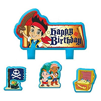 "Party Time Disney Jake and the Neverland Pirates Mini Character Birthday Candle Set, Pack of 4, Multi, 1.5"" x 1.75"" Wax: Childrens Party Favor Sets: Kitchen & Dining"