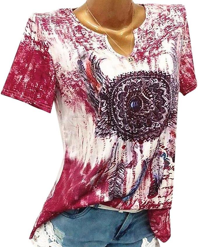 Lenfesh Camisa Estampada Mujer Blusa Talla Grande de Verano Camisetas Manga Corta Cuello en V Blusa Suelta Elegante para Mujer S-5XL (3XL, Rojo): Amazon.es: Ropa y accesorios
