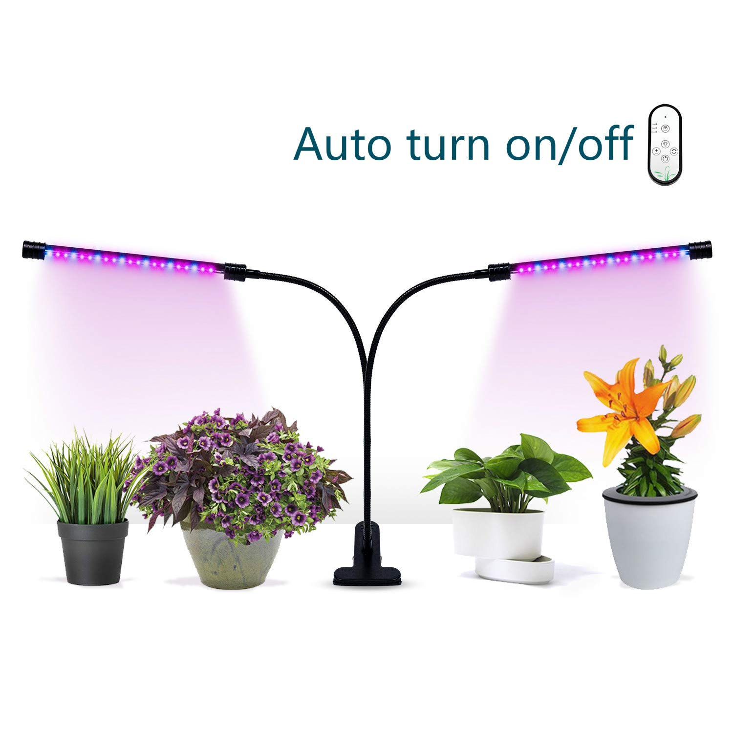 Grow Light, GIGRIN Plant Light 27W Growing Lamp with 4/8/12H Timer for Indoor Plants Seed, Adjustable Goosenecks, Dual Head and Red/Blue LED Bulbs Divided Control (5 Dimmable Levels)