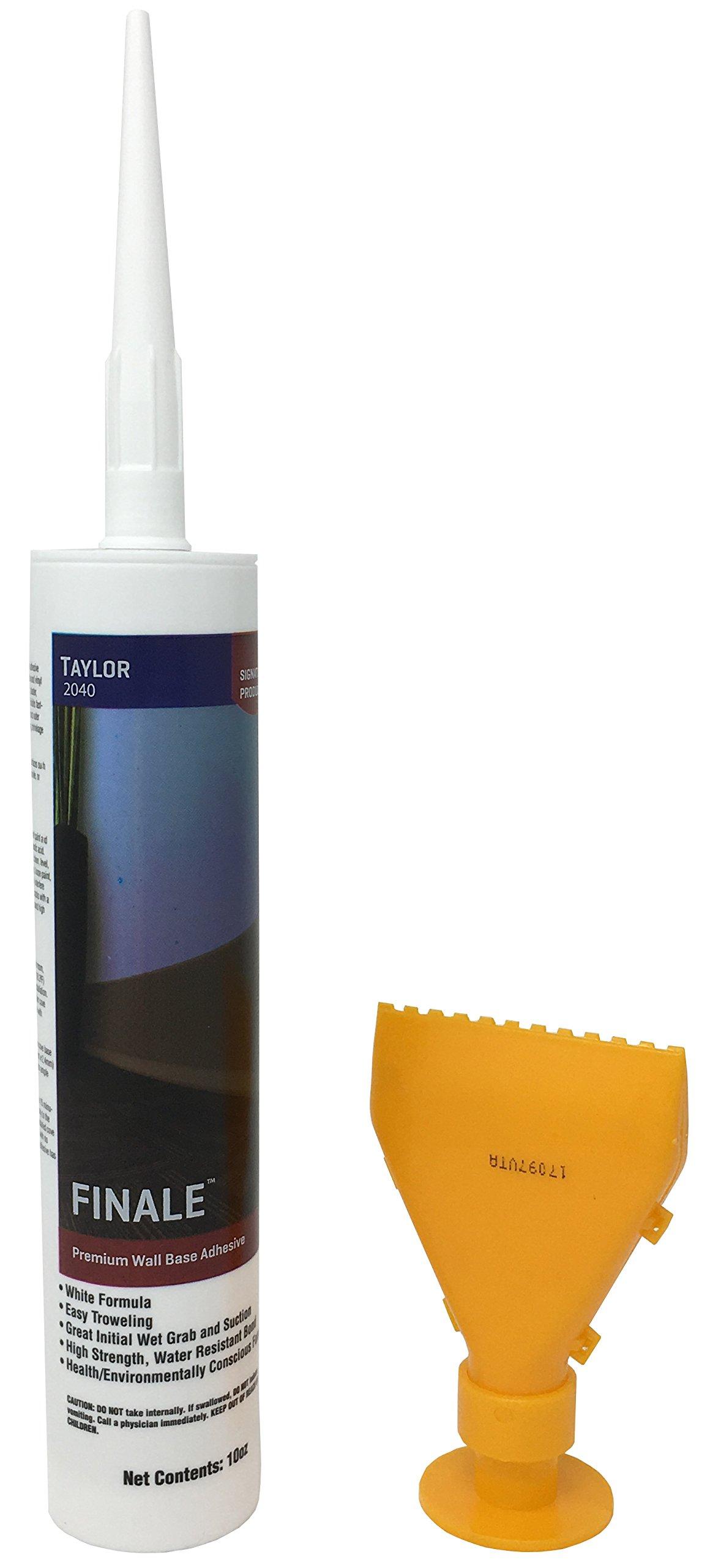 Cove Base Adhesive With Reusable Spreader Nozzle - Taylor 2040 Premium Wall Base Adhesive - High Strength Cove Base Glue 10oz. Tube - White Hard-Setting Acrylic Adhesive For Cove Base