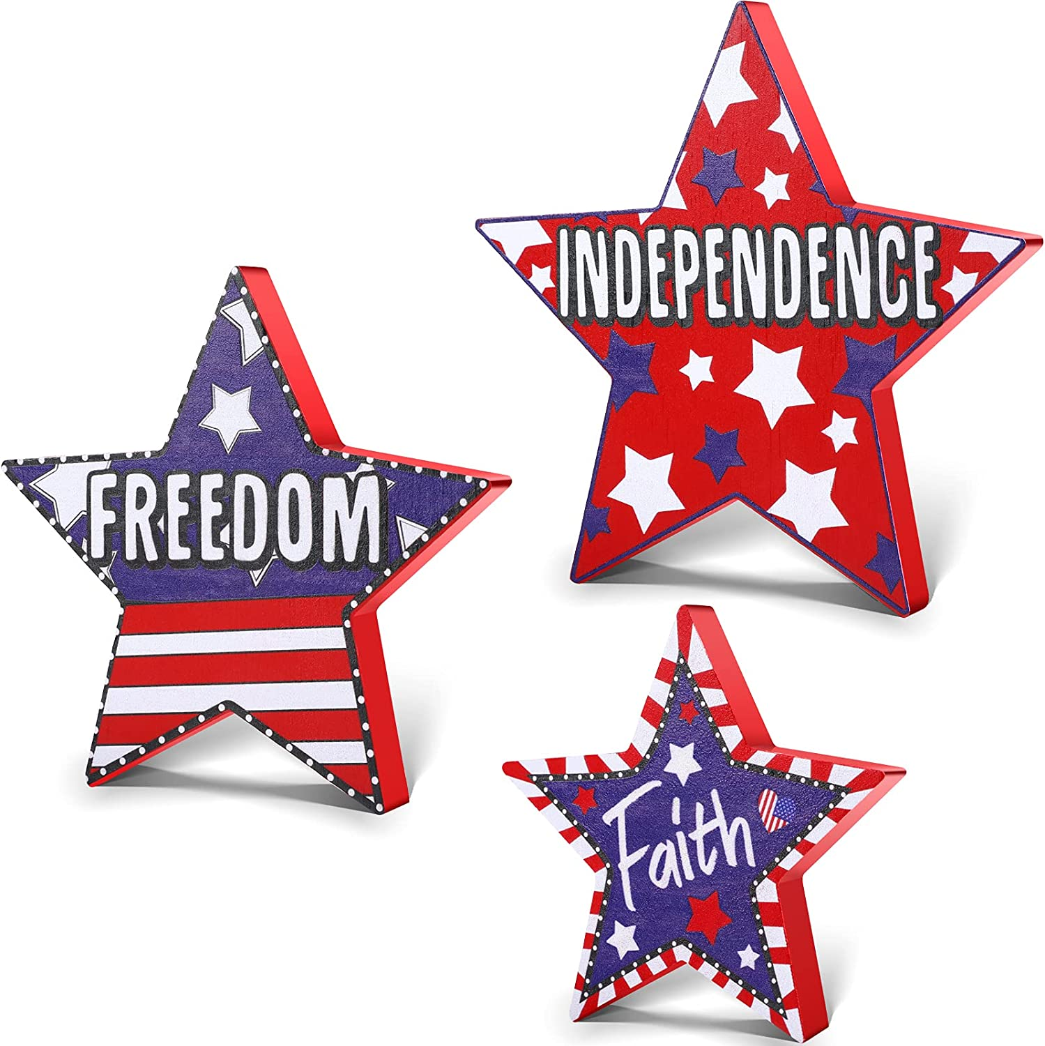 Jetec 3 Pieces 4th of July Wood Star Decoration Faith Freedom and Independence Sign Patriotic Wooden Home Table Decor for Living Room Dining Table Centerpieces Memorial Day Decorations