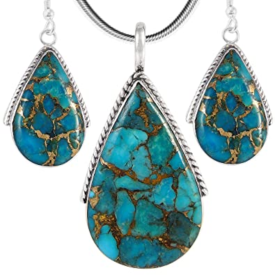 The Best Set Turquoise Gemstone Sterling Silver Ring Earring Pendant Jewelry To Be Distributed All Over The World Diamonds & Gemstones