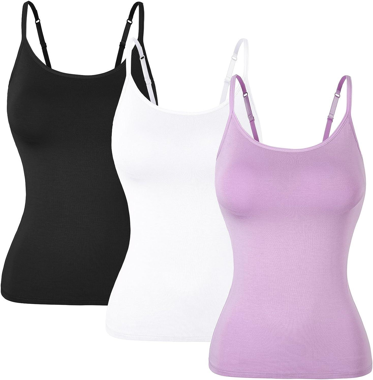 1/3 Packs Camisetas Mujer con Sujetador Camisetas de Tirantes con Sujetador sin Mangas Correas Ajustables Chaleco Básico Top